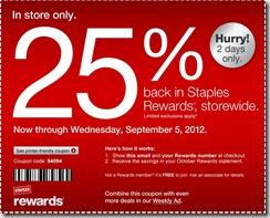 staples25off